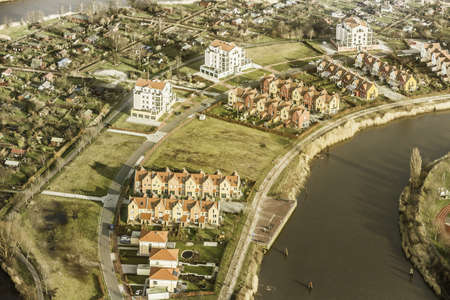 housing lot: Aerial view of housing development on riverside, Bremerhaven, Bremen, Germany
