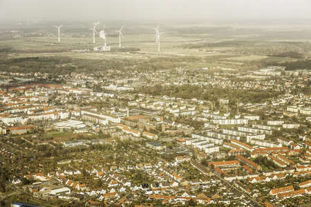 housing lot: Aerial view of suburbs and wind turbines, Bremerhaven, Bremen, Germany