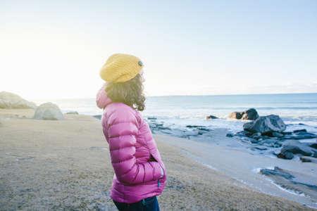 berets: Woman enjoying beach, Lofoten, Norway