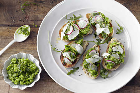 Bread with pea and radish