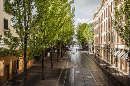 Empty tree-lined cobblestone street with tram lines, Portland, Oregon, US LANG_EVOIMAGES