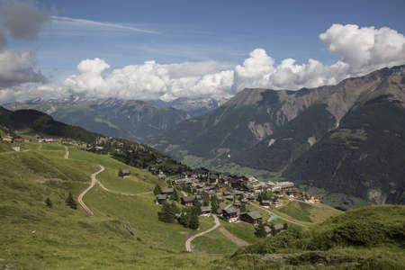 View of village in valley, Bettmeralp, Valais, Switzerland