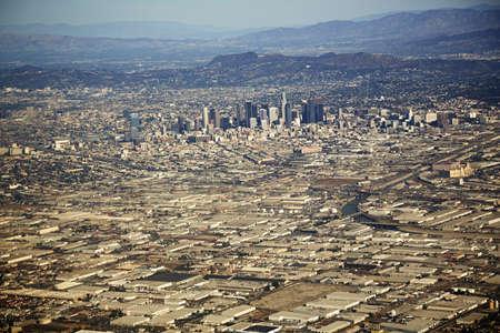 negative area: Aerial view of cityscape, Los Angeles, California, USA