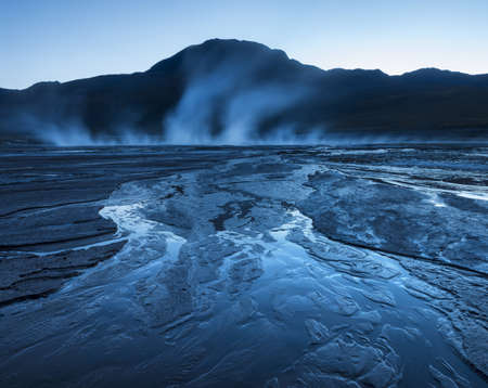 El Tatio Geysers before dawn, Atacama Desert, El Norte Grande, Chile