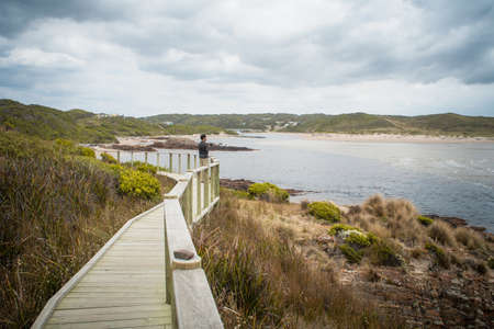 Photographer standing on wooden walkway, taking photographs of view, Tasmania LANG_EVOIMAGES