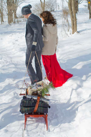 Mid adult couple outdoors in snow, man pulling sled, rear view