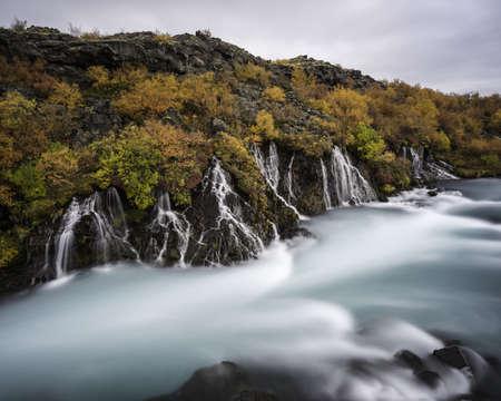 Hraunfossar waterfall in Fall, Southwest Iceland