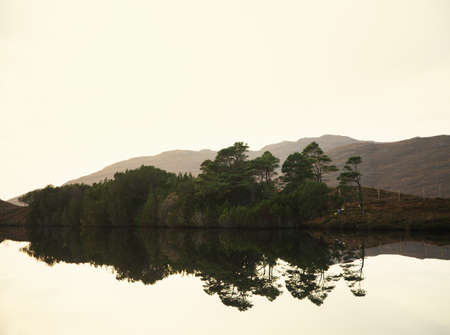 mirror image: View of calm loch and trees, North West Highlands, Scotland, UK