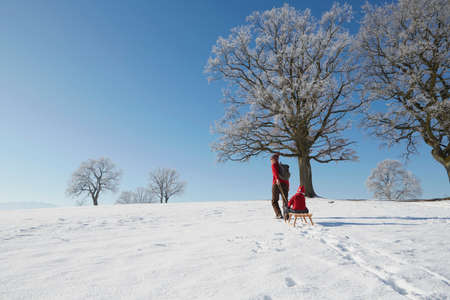 to go sledding: Mother pulling son on sled, rear view