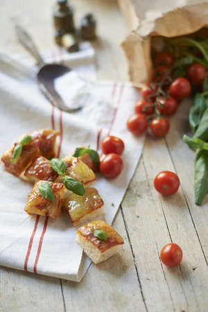 Gluten-free ciabatta squares with vine tomatoes