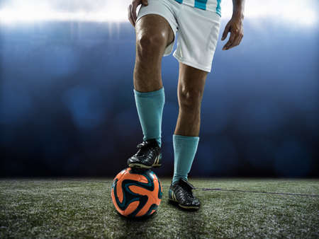 knee boots: Footballer waiting for kick off