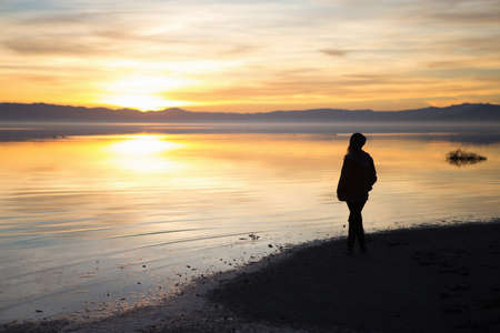 Young woman standing at waters edge, watching sunset, rear view