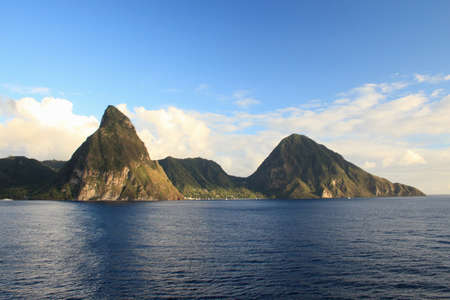 seascapes: View of sea and mountains, Soufriere, St. Lucia, The Caribbean