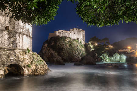 flood area: View of old town castle at night, Dubrovnik, Croatia LANG_EVOIMAGES