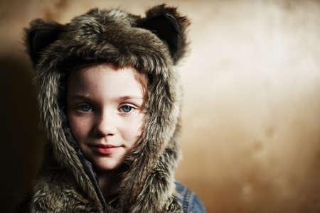 Girl wearing furry hat