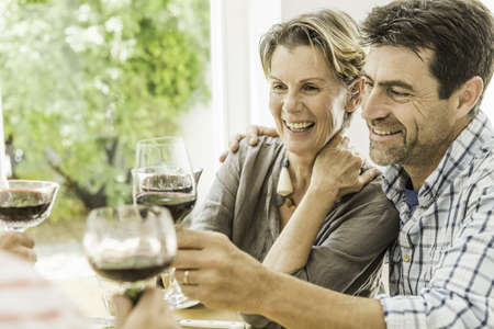 Couple toasting with red wine at dining table LANG_EVOIMAGES