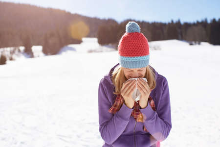 purples: Woman suffering with cold