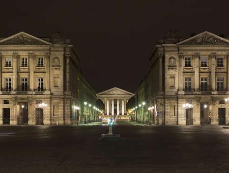 negative area: View from Place de la Concorde towards La Madeleine church at night, Paris, France