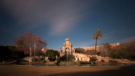 Cascada Monumental in Parc de la Ciutadella at dusk, Barcelona, Catalonia, Spain
