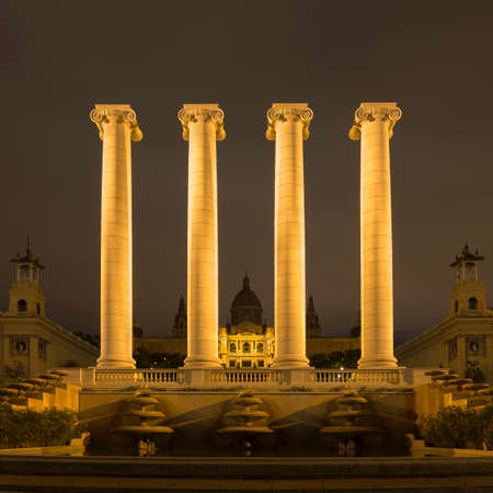 View of columns in front of Museu Nacional dArt de Catalunya  at night, Barcelona, Catalonia, Spain