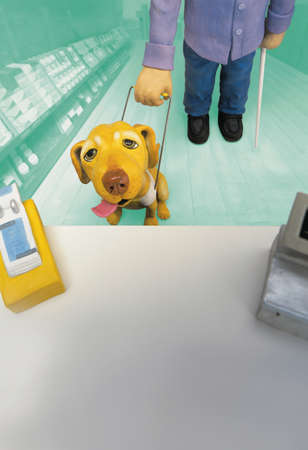 pooches: Model of guide dog and blind man in front of pharmacy counter