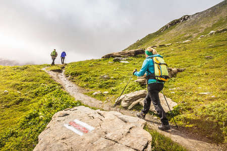Rear view of three hikers hiking up path, Fil de Cassons, Segnesboden, Graubunden, Switzerland LANG_EVOIMAGES