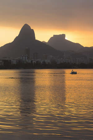 Lagoa Rodrigo de Freitas at sunset, Rio De Janeiro, Brazil LANG_EVOIMAGES