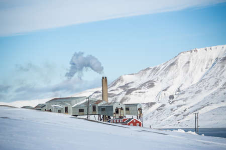 View of factory and mountains, Longyearbyen, Svalbard, Norway