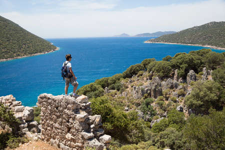 30 years old man: Man looking out at coast on the Lycian way, Turkey