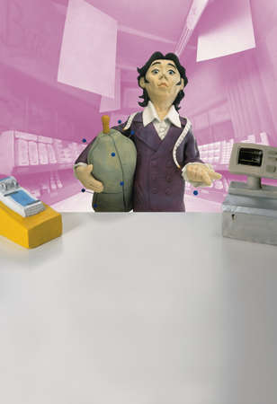 silliness: Model of tailor with pin stuck in finger in front of pharmacy counter