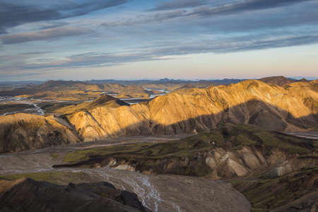 a bathing place: Nordurbarmur bathed in evening light, Landmannalaugar, Interior of Iceland