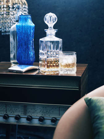 trashy: Retro styled radiogram with whiskey decanter and glass