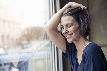 Woman looking comfortable at home