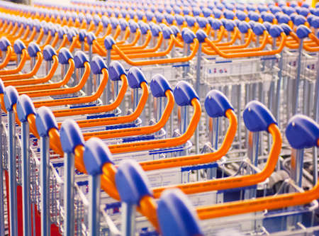 purples: Rows of airport luggage trollies