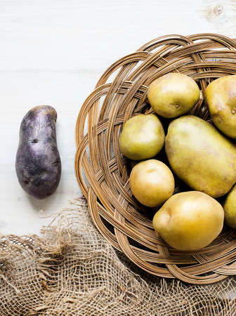 Potatoes in wicker basket