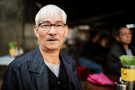 Portrait of senior man with grey hair wearing glasses looking at camera LANG_EVOIMAGES