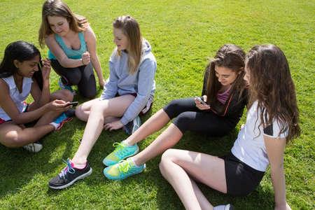 shadowed: Group of students taking break in field LANG_EVOIMAGES