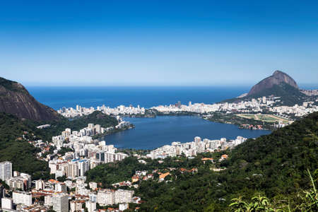 Elevated view of coastline and Ipanema, Rio de Janeiro, Brazil