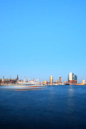 negative area: Distant view of Elbe Philharmonic Hall in Port of Hamburg, Germany