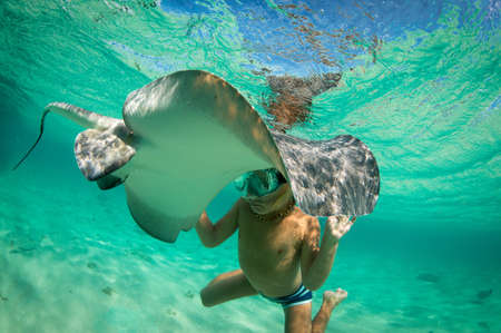 Boy with stingray, Bimini, Bahamas