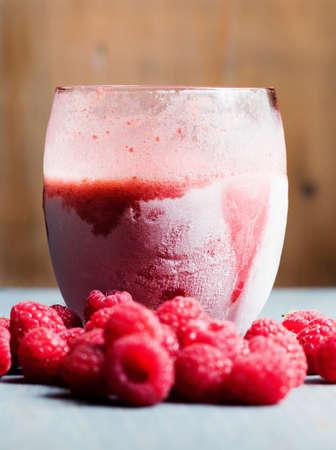 Frozen raspberry smoothie with fresh raspberries