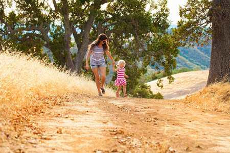 getting out: Mother and daughter having fun, Mt Diablo State Park, California, USA