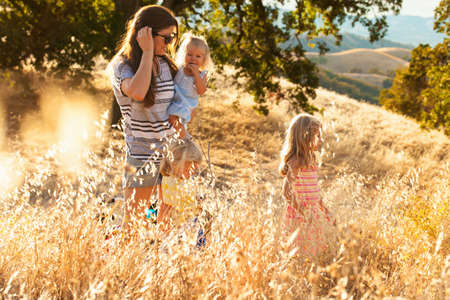 Mother and daughters taking walk, Mt Diablo State Park, California, USA