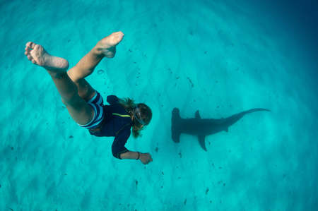 obscuring: Boy free diving with hammerhead shark, Bimini, Bahamas LANG_EVOIMAGES