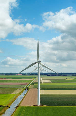 environmental issues: Modern wind farm in the newly created land in the Flevopolder