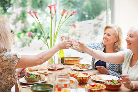 family: Three women having lunch together at home, making a toast