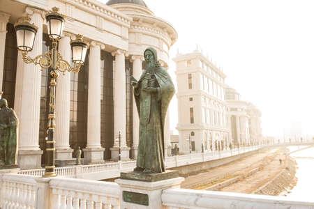 Statues near the old town bridge, Skopje, Macedonia