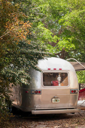 awnings windows: Rear view of parked airstream trailer with statue in window