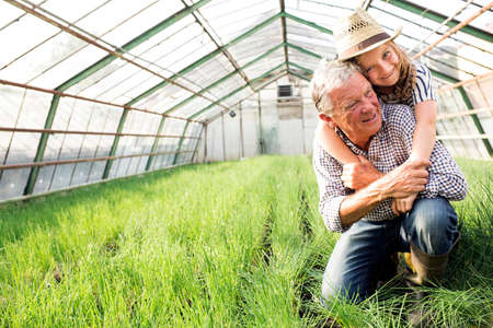 Granddaughter with arms around grandfather in hothouse full of chives