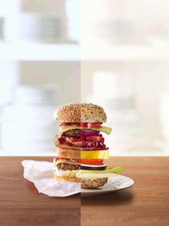 carnes y verduras: Media hamburguesa, media sándwich de verduras